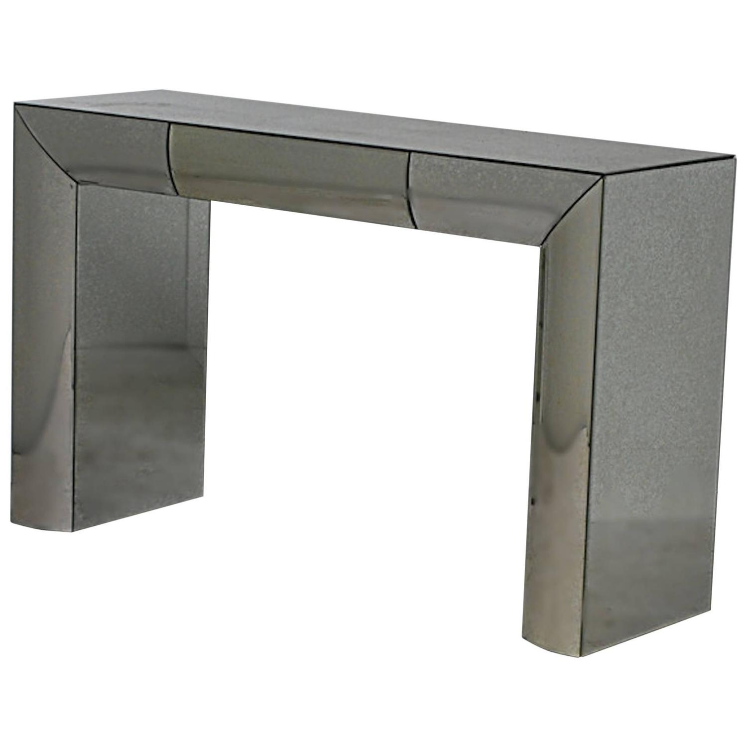 Moderne style mirrored console with drawer at 1stdibs for Mirrored console with drawers