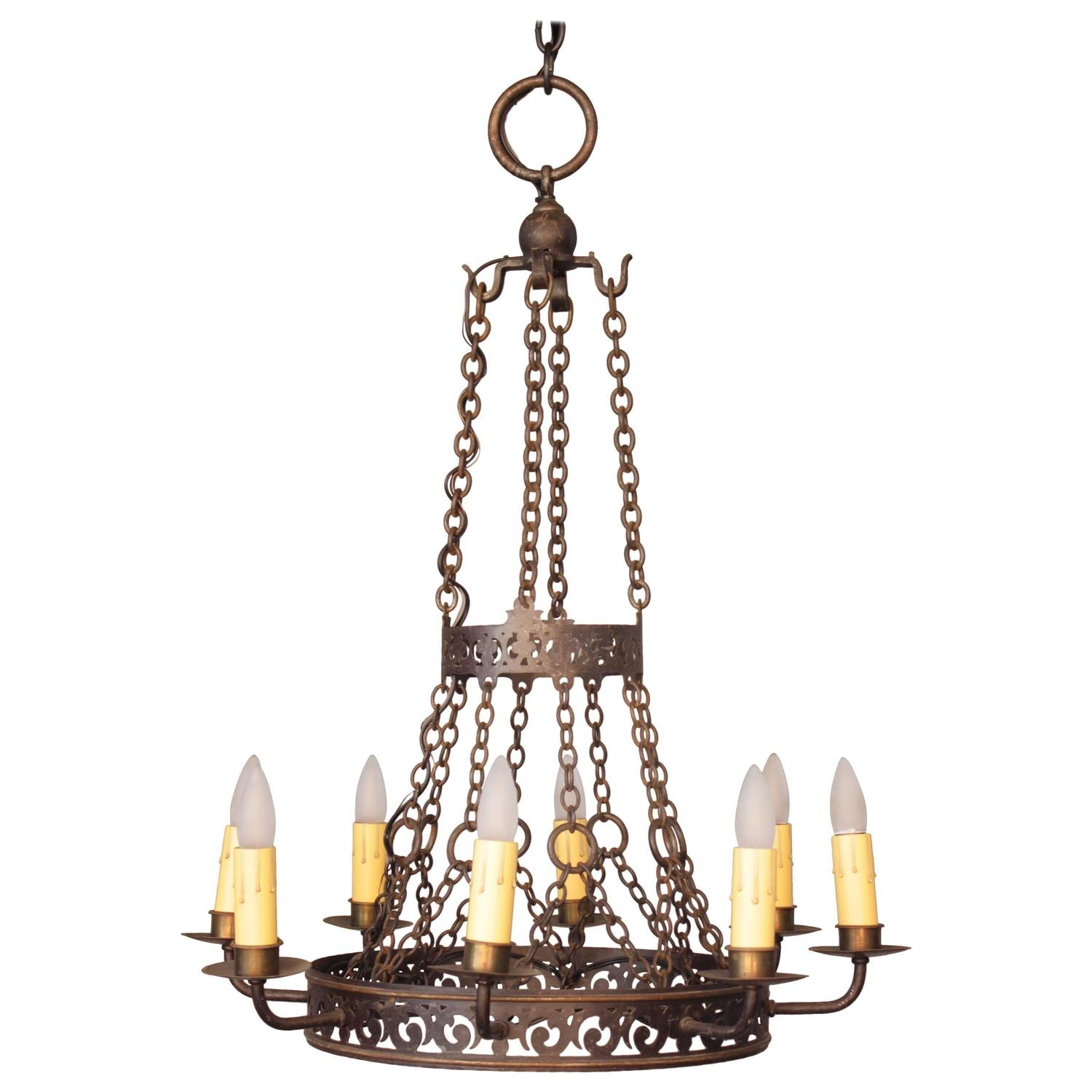 Exquisite antique spanish revival eight light chandelier for Spanish revival lighting
