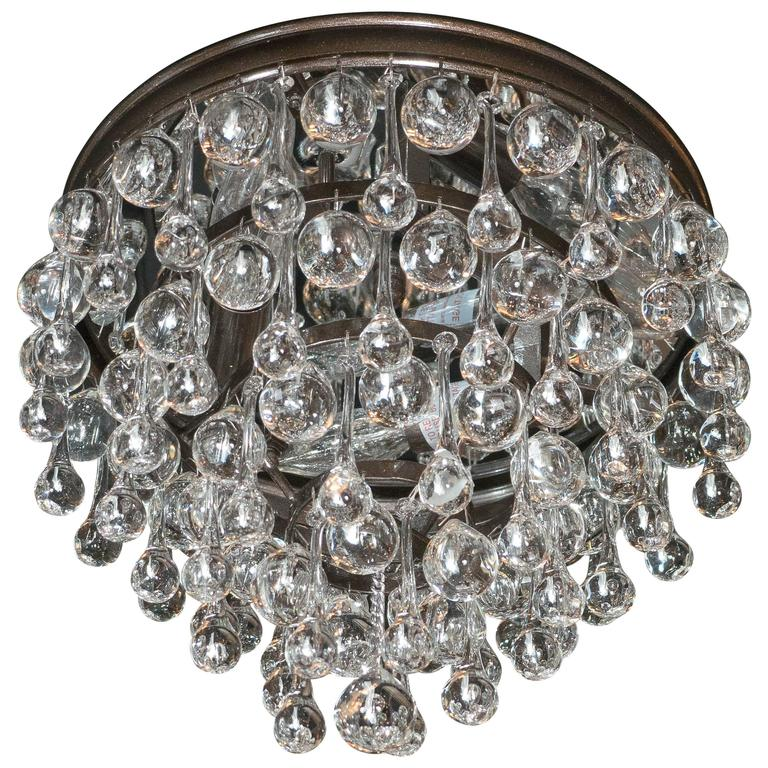 Hollywood Teardrop and Crystal Ball Chandelier with Chrome and Handblown Glass
