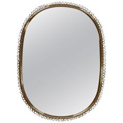 1950s Brass Loop Wall Mirror in the Manner of Josef Frank