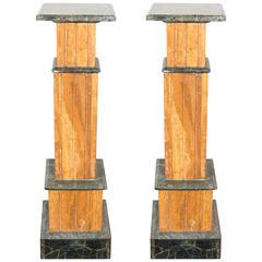 Mid-Century Pair of Travertine Pedestals with Verde Marble