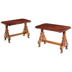 Fine Pair of Occasional Tables with Faux Porphyry Tops