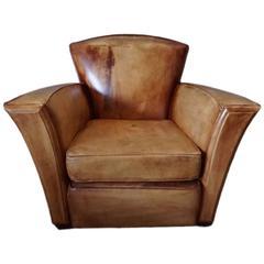 Vintage Cognac Art Deco style Leather Club Chair