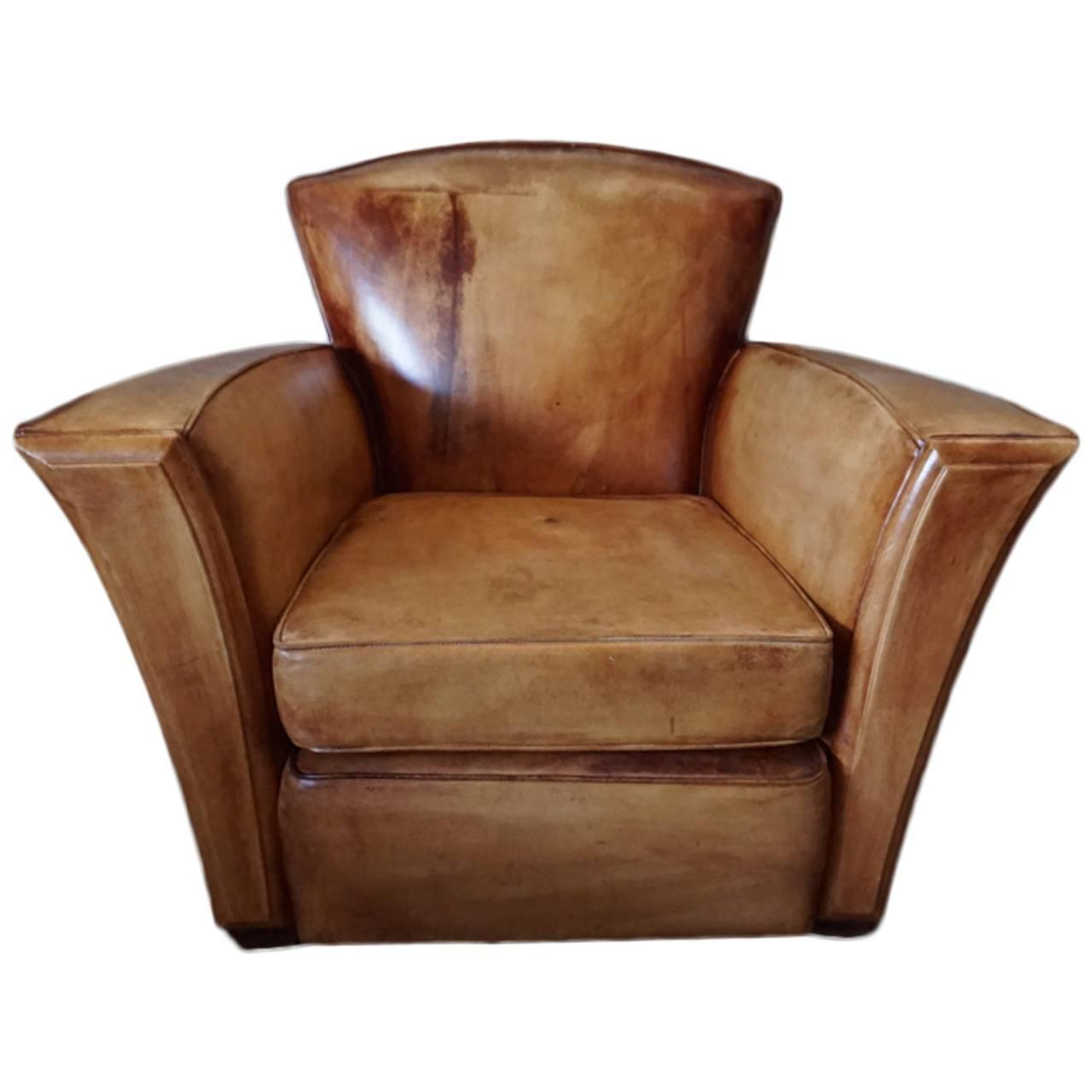 Vintage Cognac Art Deco Style Leather Club Chair At 1stdibs