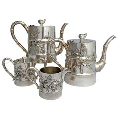 Chinese Export Silver Bamboo Motif Art Deco Four-Piece Tea and Coffee Set