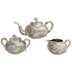 Late 19th Century Chinese Export Three-Piece Dragon Tea Set by Kuen Wo