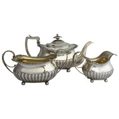 Georgian Three-Piece English Sterling Silver Tea Set by William Eaton