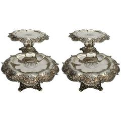 Pair of Fine Early 20th Century Tiffany Tazzas in the Chrysanthemum Pattern