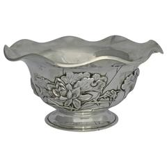 Chinese Export Silver Bowl by Luen Wo with Lotus Detail
