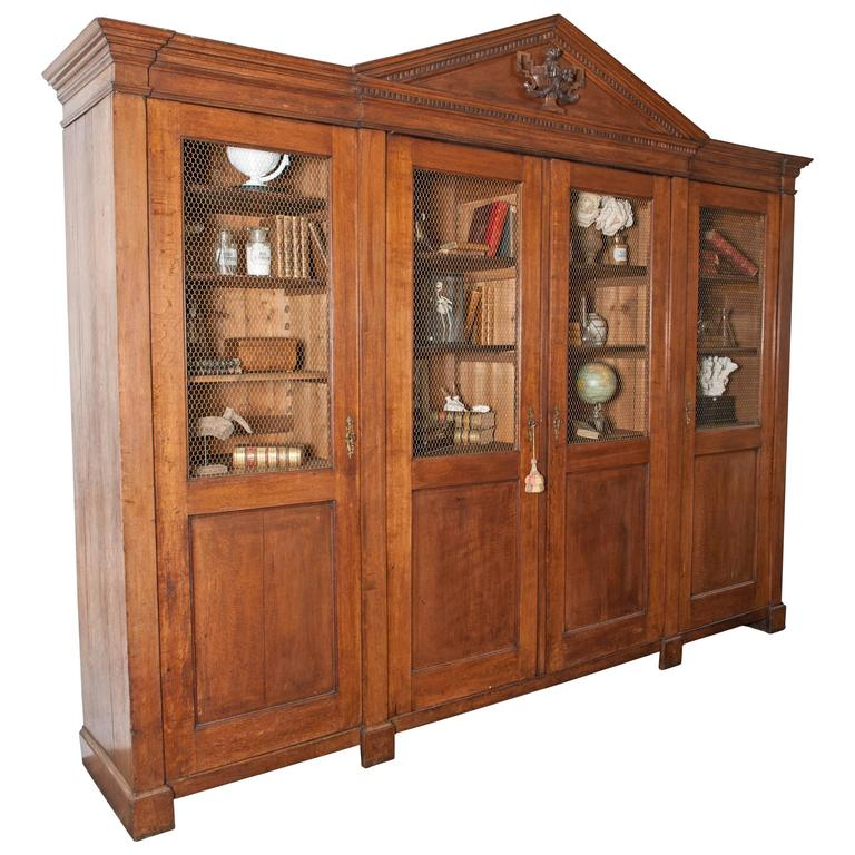 Large Antique Oak Library Bookcase In Neoclassical Style