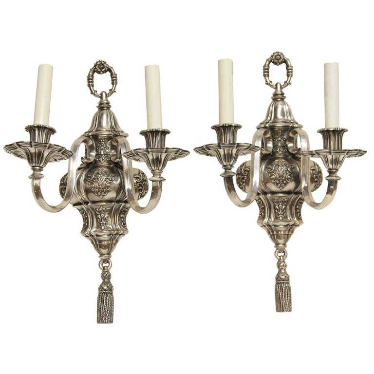 1920s Pair of Ornate Georgian EF Caldwell Two-Arm Silver over Bronze Sconces For Sale