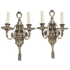 1920s Pair of Ornate Georgian EF Caldwell Two-Arm Silver over Bronze Sconces