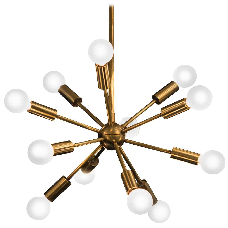 Twelve arm brass sputnik chandelier at 1stdibs for Sputnik chandelier