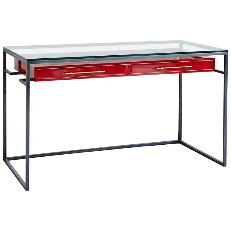 Red Enamel Floating Drawer Desk