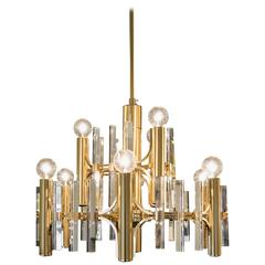 Sciolari Brushed Brass and Crystal Nine Light and Two-Tiered Chandelier