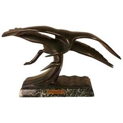 French Art Deco Bronze Bird in Flying Motion Sculpture by Alexandre Kelety