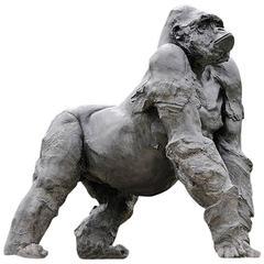 Gorilla Grey Resin Sculpture