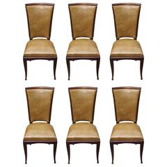 Set of Eight French Art Deco Walnut Dining Chairs, circa 1940s
