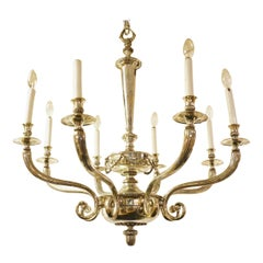 Neoclassical Eight-Arm Silvered Chandelier Attributed to Caldwell and Co.