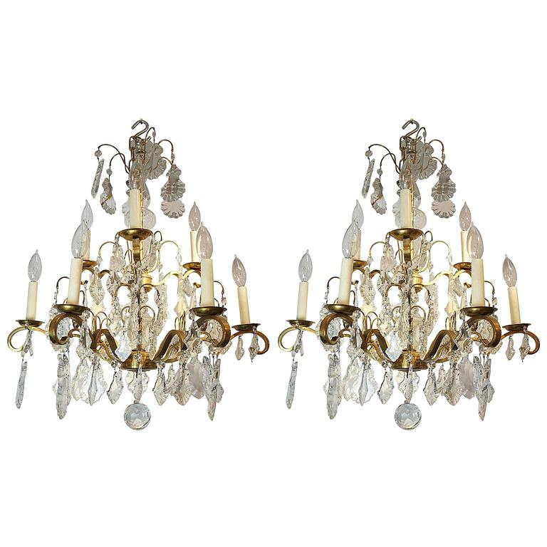 Nine-Arm Crystal and Gilt Brass Louis XV Style Chandeliers For Sale