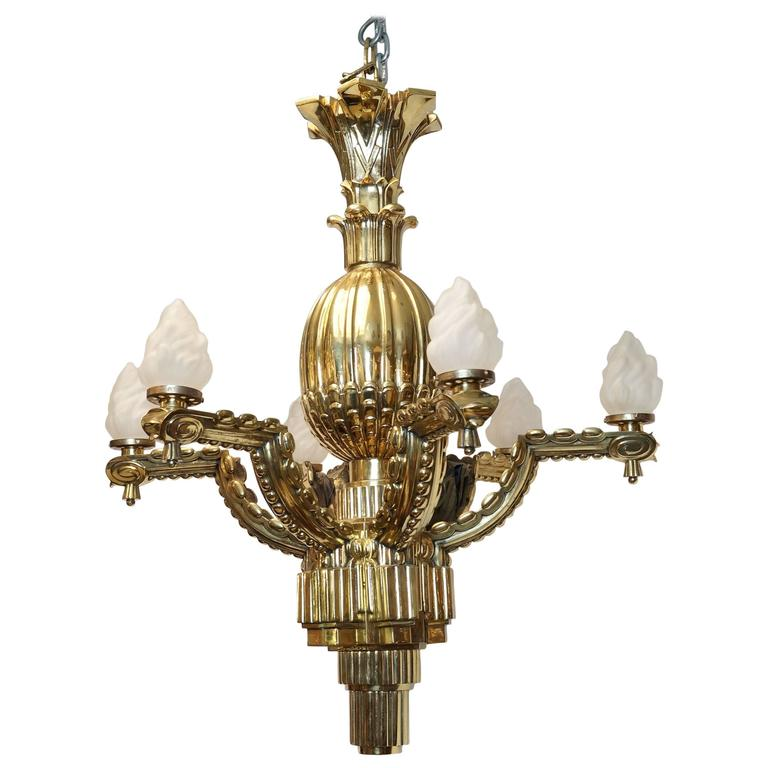 Six-Arm Gilt Bronze Deco Chandelier with Fluted Design Work