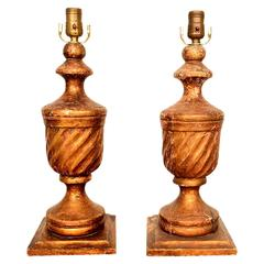 Antique Table Lamps, Mahogany and Gold Leaf