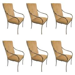 Set of Six Pierre Cardin Chrome Dining Chairs