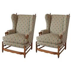 Pair of Late 19th Century French Provincial Upholstered Wing Chairs