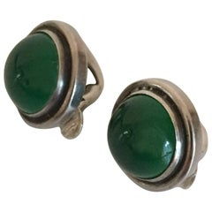 Georg Jensen Sterling Silver Earclips with Green Agate