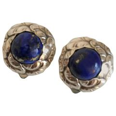 Georg Jensen Sterling Silver Earclips #74 with Lapis Lazuli