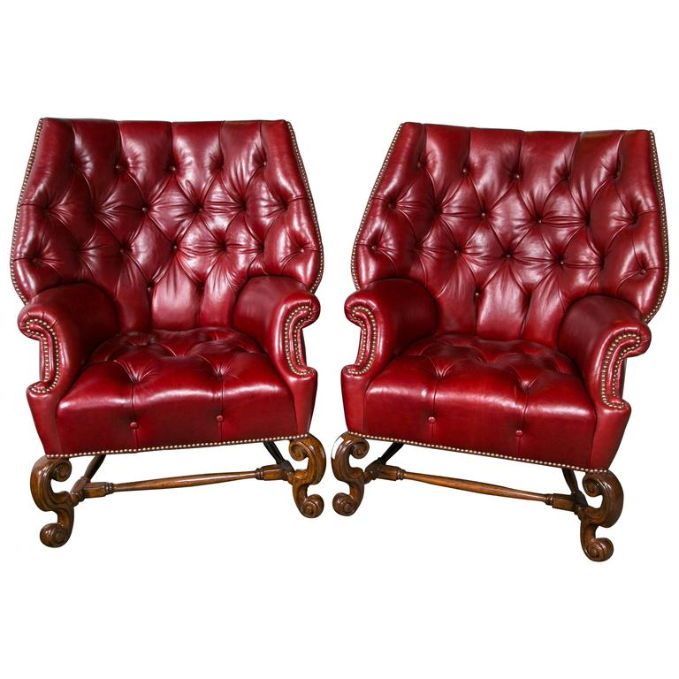 Pair of Oversized Tufted Leather Wingback Chairs For Sale