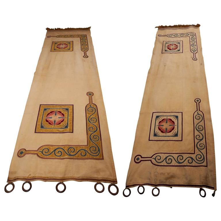 Pair Of Arts And Crafts Reversible Portiere Archway Curtain Panels For Sale At 1stdibs