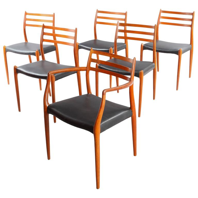 Attirant Six Danish Teak Dining Chairs Niels O. Moller Model 78 62 For Sale