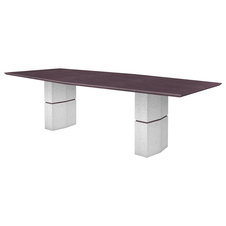 Frédéric Saulou, Unique Dining Table In Purple Slate For