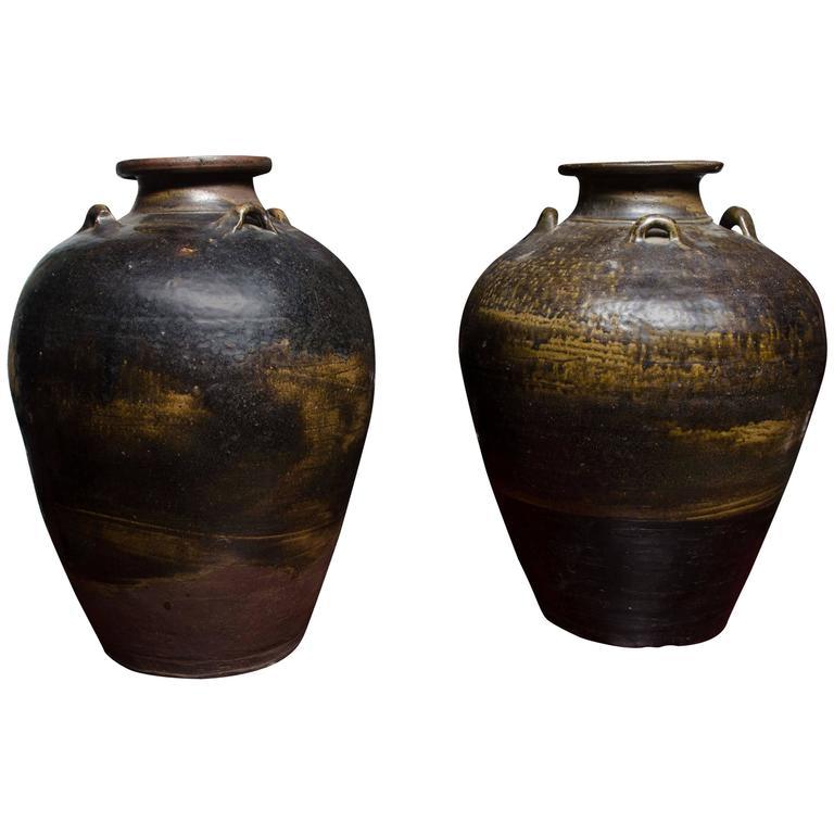 Early 18th Century Thai Glazed Terra Cotta Water Vessel 1