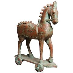 Turn of the Century Indian Lacquered Temple Rolling Horse