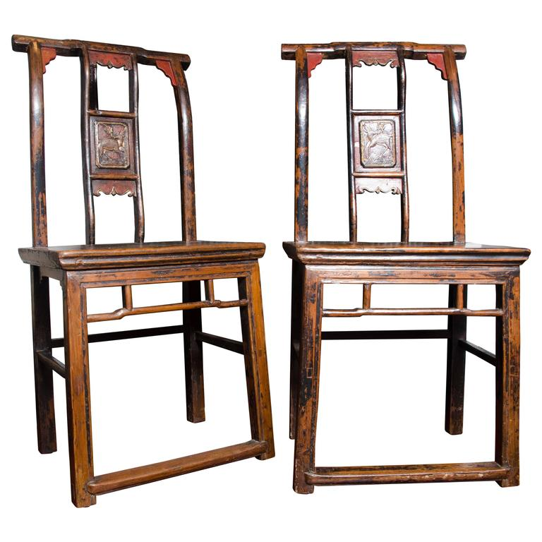 Late 19th Century Qing Dynasty Chinese Lacquered and Carved Side Chairs