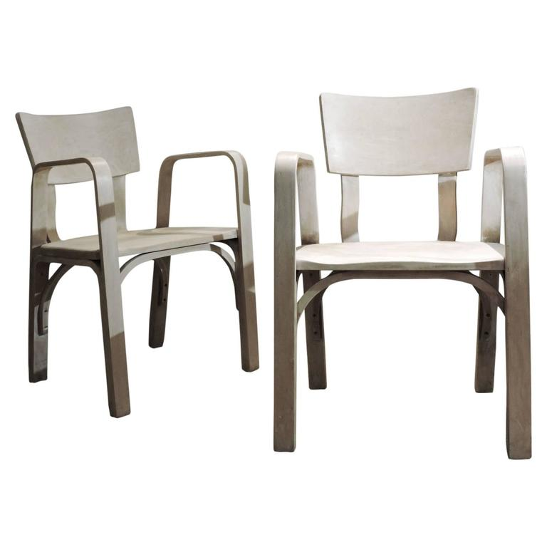 Thonet Bent Plywood Armchairs For Sale