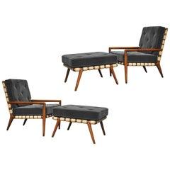 T.H. Robsjohn-Gibbings Strapped Lounge Chairs