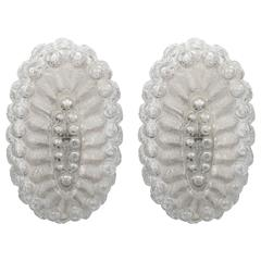 Pair of Midcentury Oval Form Sconces in Textured Glass with Frosted Detail