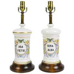 Pair of French Hand-Painted Porcelain Apothecary Jar Lamps