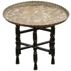 Vintage Middle Eastern Etched Round Copper Tray Table
