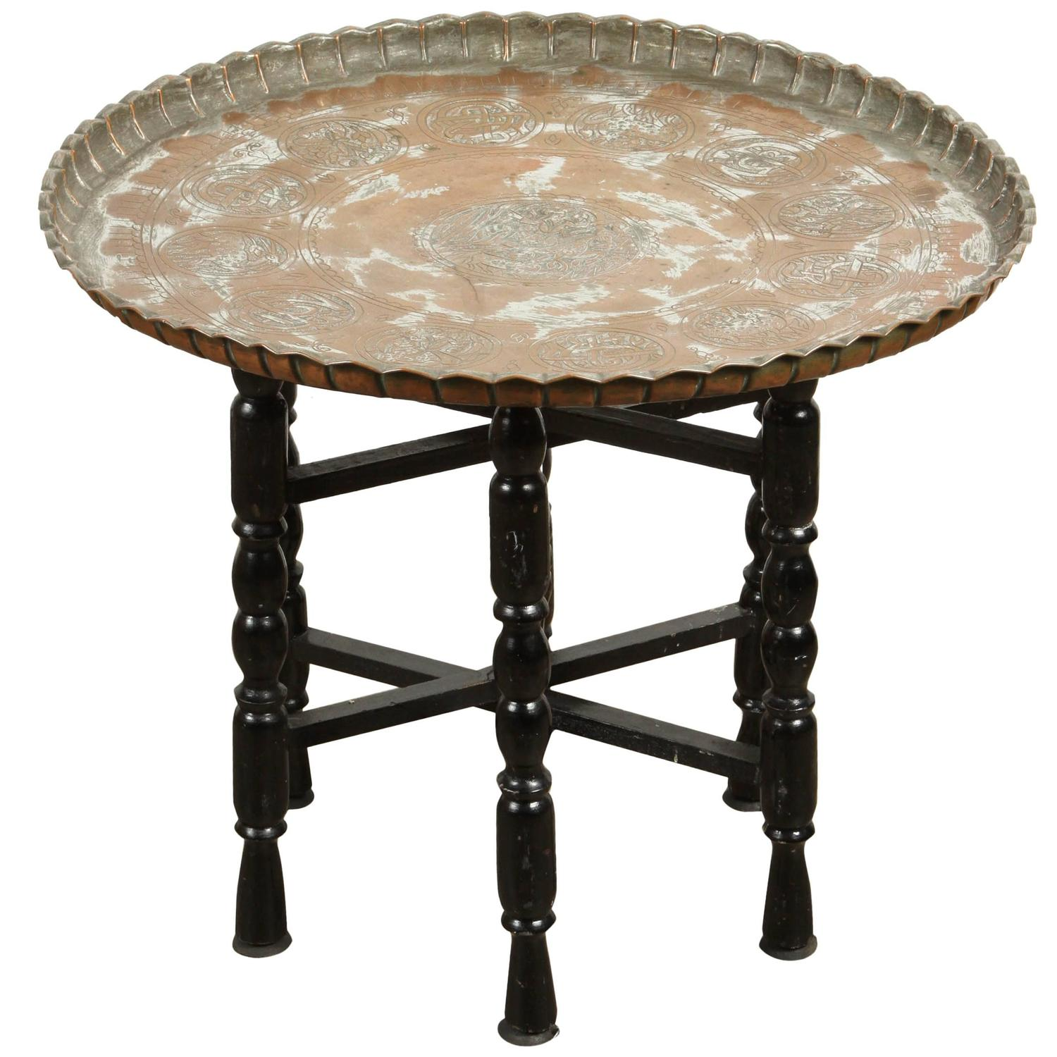 Vintage Middle Eastern Etched Round Copper Tray Table at 1stdibs