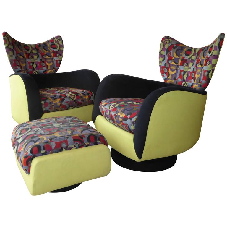 Pair of Vladimir Kagan Lounge Chairs for Directional with Ottoman 1