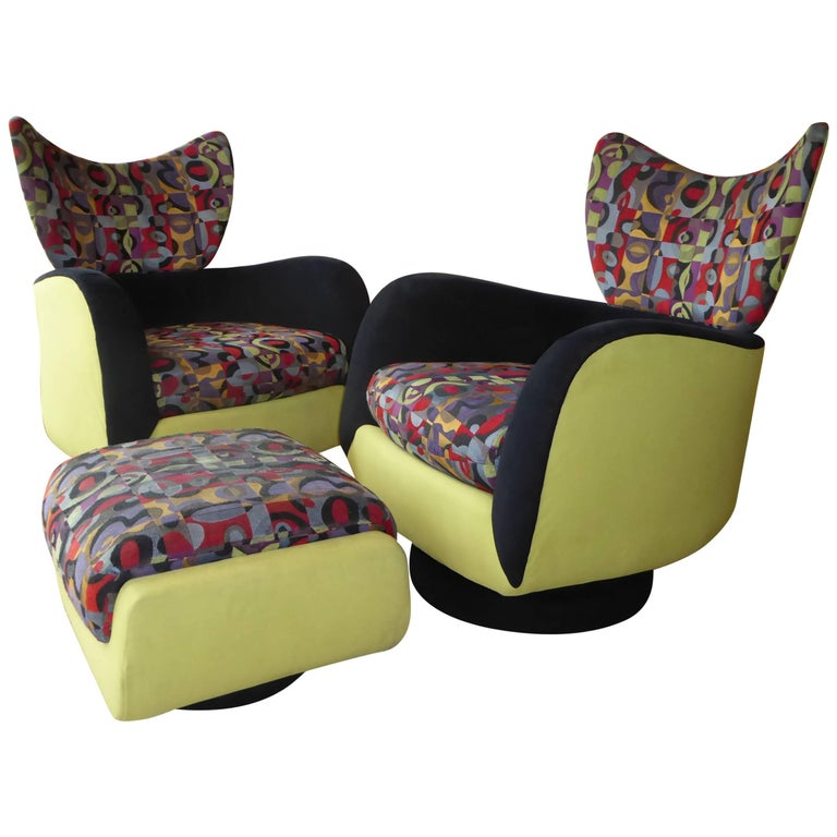Pair of Vladimir Kagan Lounge Chairs for Directional with Ottoman For Sale