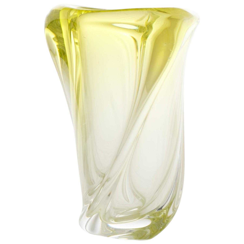 Vintage handblown murano ombr citron glass vase for sale for Jardin glass vases 7 in