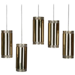 Set of Five Swedish Pendants in Perforated Brass by Boréns