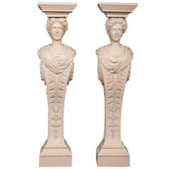 Pair of Lacquered Carved Wood Pedestals in the Manner of William Kent
