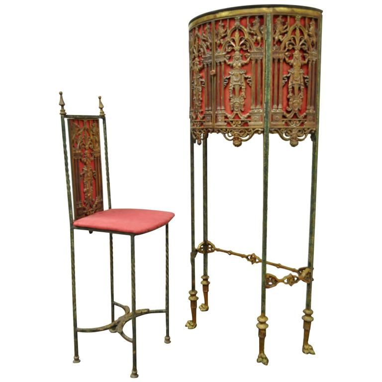 Figural Bronze And Iron Telephone Stand And Chair Attributed Oscar Bacha  For Sale