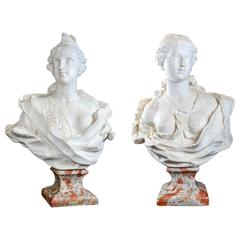 Pair of White Marble Flora Busts French Work Late XVII° Century